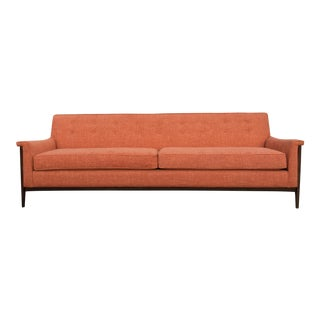 Mid-Century Style Walnut Frame Orange Sofa