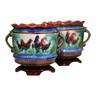 19th Century French Hand-Painted Barbotine Cache Pots With Chicken - A Pair