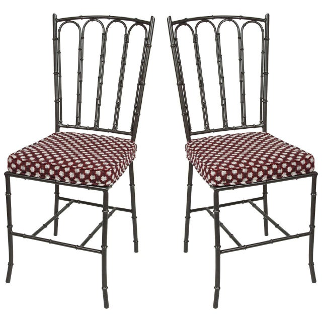 Metal Faux Bamboo Chairs - Pair - Image 1 of 7