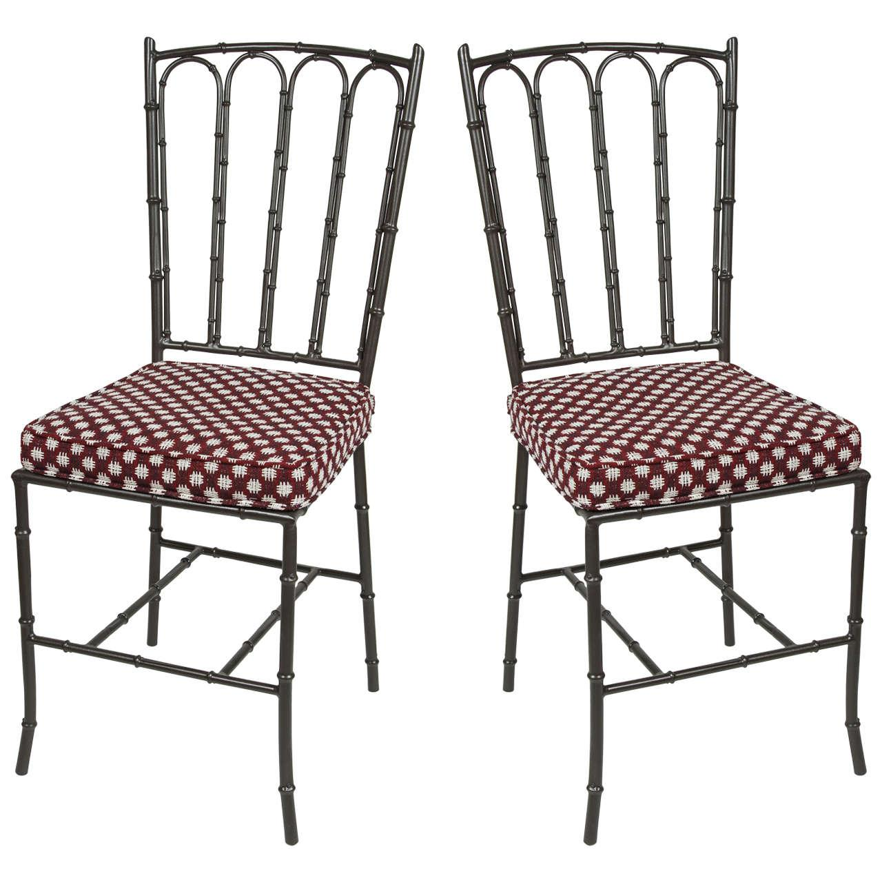 Metal Faux Bamboo Chairs   Pair   Image 1 Of 7