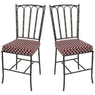 Metal Faux Bamboo Chairs - Pair