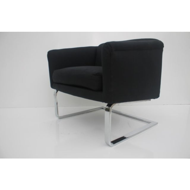 Italian Vintage Flat Bar Chrome Accent Chair - Image 10 of 11