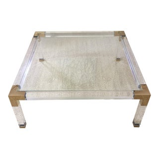 Brass, Lucite, & Glass Coffee Table