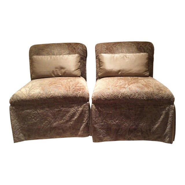Velvet Damask Slipper Chairs - A Pair - Image 1 of 7