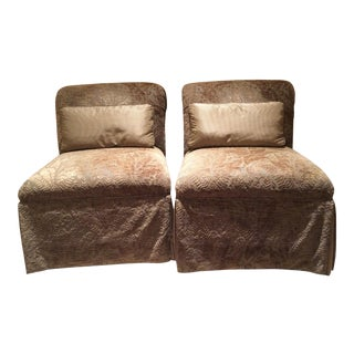 Velvet Damask Slipper Chairs - A Pair