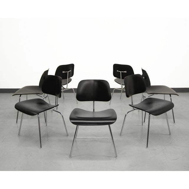 Image of Set of 7 Authentic Eames Herman Miller Dcm Black Ebony Mid Century Dining Chairs