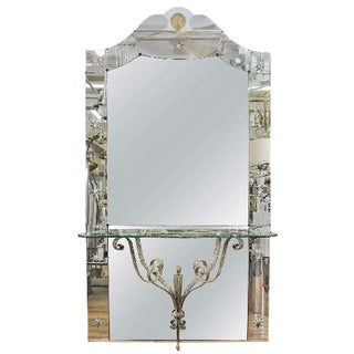 AMAZING ITALIAN HOLLYWOOD REGENCY MIRROR WITH CONSOLE SHELF