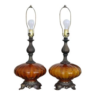 Lovesky & Lovesky Metal Cast Lamps - A Pair