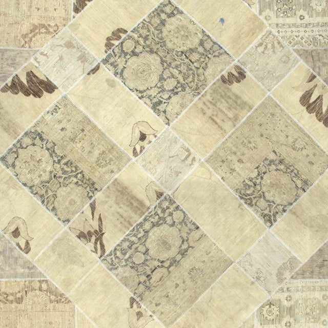 "Tan Square Patchwork Rug - 9'9"" X 9'9"" - Image 2 of 2"