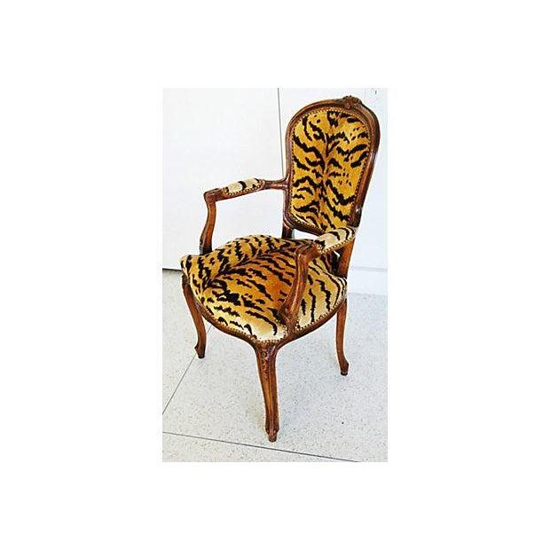 1940s Italian Scalamandre Le Tigre Velvet Armchair - Image 3 of 8