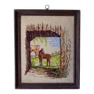 Mid-Century Needlepoint Horse Scene