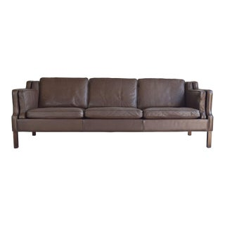 Børge Mogensen-style Danish Leather 3-Seat Sofa
