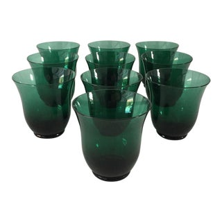 Mid-Century Dark Green Short Bar Glasses - Set of 10