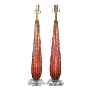 Cranberry Murano Teardrop Lamps
