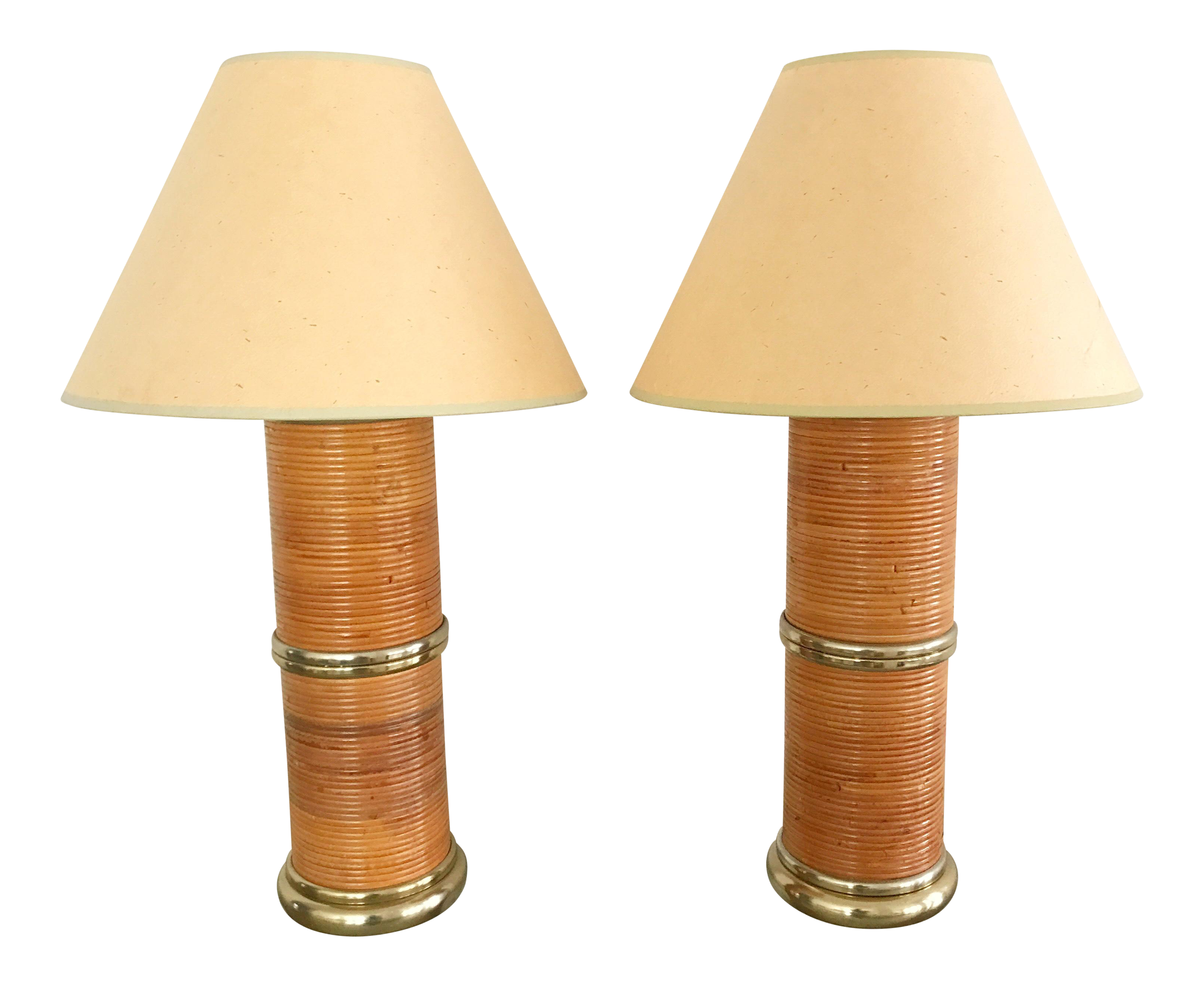 Vintage Brass U0026 Pencil Reed Rattan Wrapped Column Table Lamps   A Pair