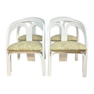 Paul Frankl Style Mid-Century Rattan Arm Chairs - Set of 4