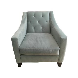 Velvet Tufted Chair in Seafoam Blue