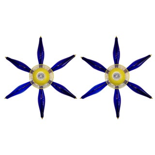 1960 Vintage Italian Pair of Unique Star Sconces in Yellow and Blue Murano Glass