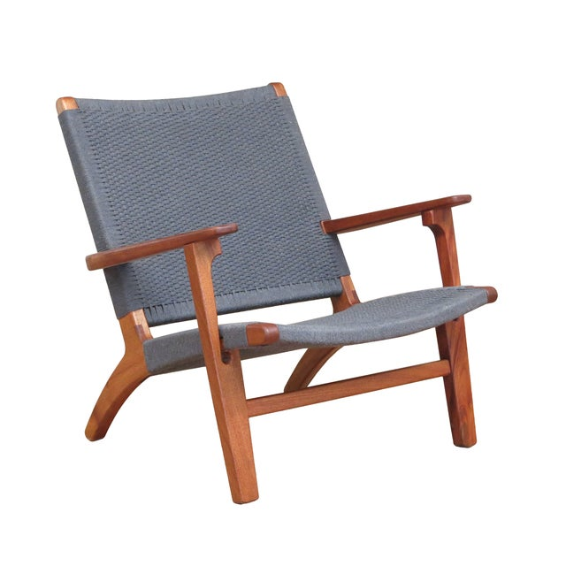 Image of Mid Century Modern Gray Mahogany Lounge Chair