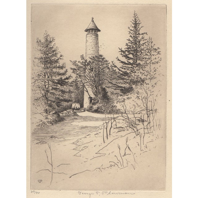 George T. Plowman The Tower Dartmouth Etching - Image 1 of 3