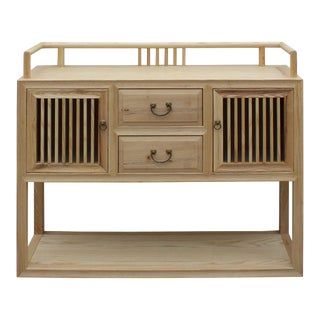 Chinese Raw Wood Open Display Storage Side Table Cabinet