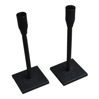 Modern Black Iron Candle Sticks - A Pair