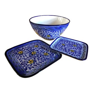 Tunisian Serving Bowl & Plates - Set of 3