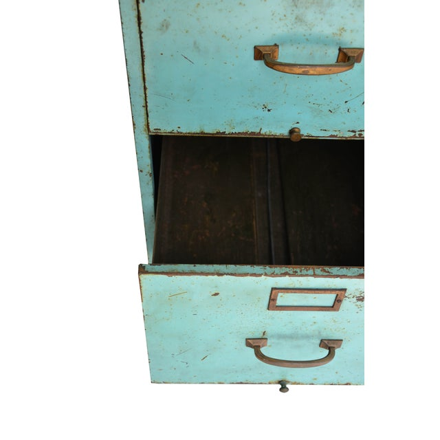 Industrial Turquoise Filing Cabinet - Image 6 of 7