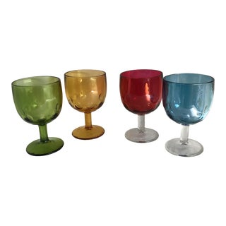 Mid-Century Colorful Glass Goblets - Set of 4