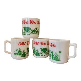"""Vintage Milk Glass Christmas """"Egg Nog"""" Cup Set"""