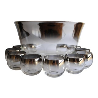 Mid-Century Silver Fade Punch Bowl & Glasses