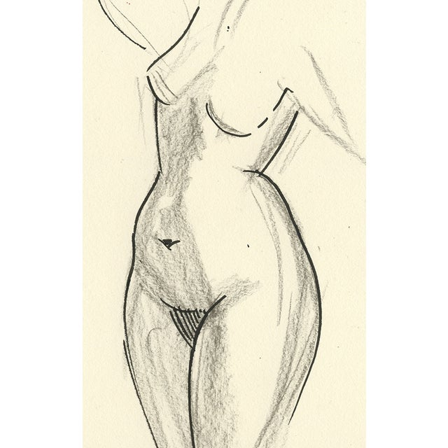 Image of Female Nude Original Graphite & Ink Drawing