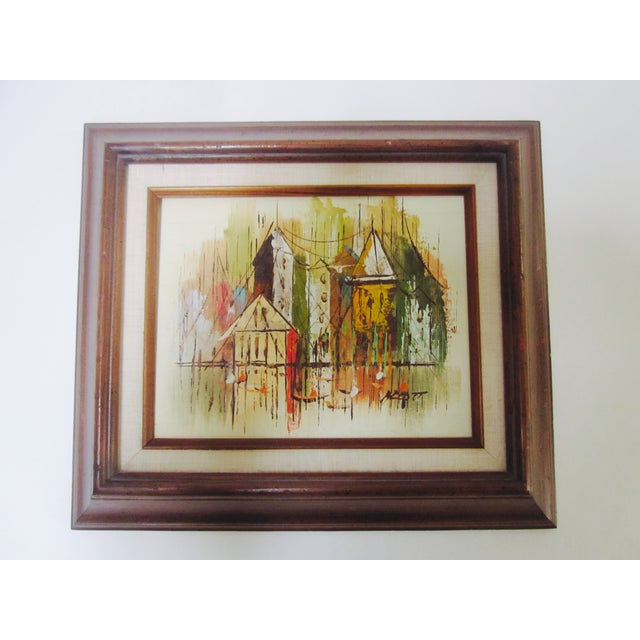Image of Mid-Century Abstract Cityscape Painting