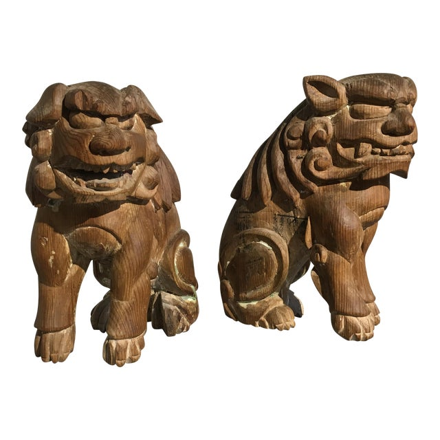 Pair Japanese Edo Period Carved Wood Komainu, early 19th century - Image 1 of 11