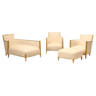 Circa 1940s French Gilded Bergere Chairs & Ottoman