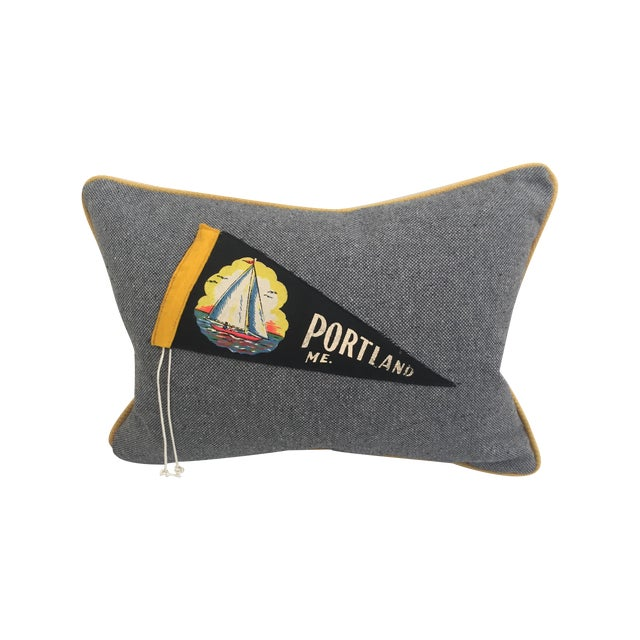 "Image of ""Hit the Road!"" Vintage Travel Pennant Pillow"