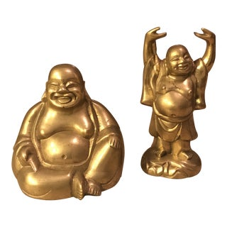 Happy Brass Buddha Figure - A Pair