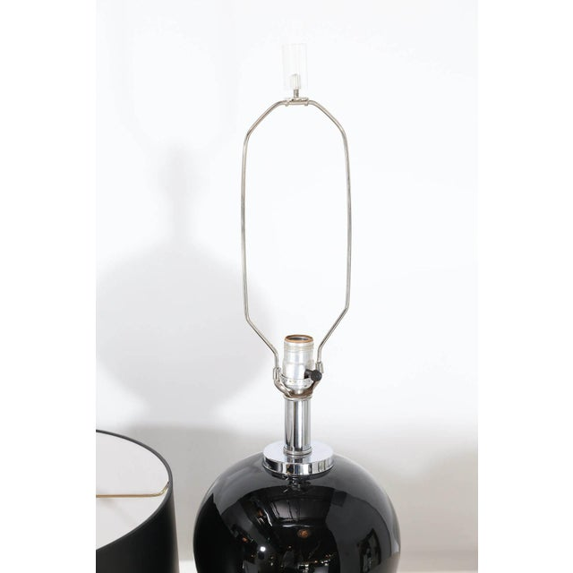 Image of Pair of Modern Black Ceramic and Chrome Table Lamps
