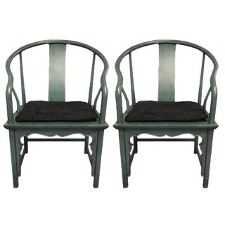 Baker Chinese Style Painted Horseshoe Chairs - a Pair