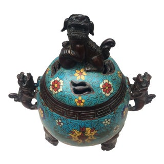Cloisonné Foo Dog Bronze Incense Burner