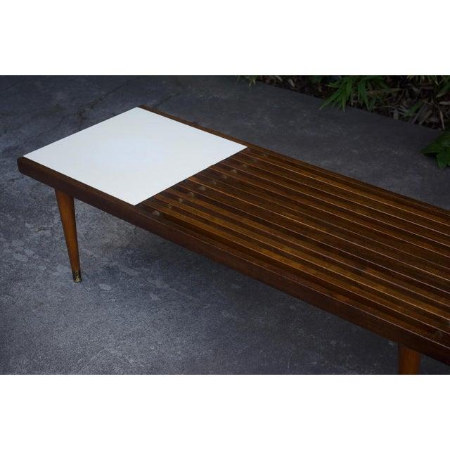 Mid-Century Slat Bench Coffee Table - Image 3 of 4