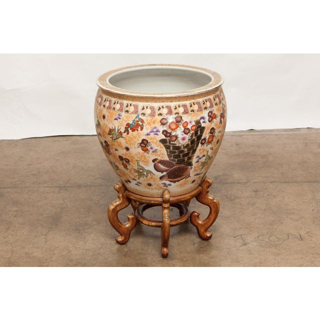 Chinese porcelain fish bowl jardiniere on stand chairish for Fish bowl stand