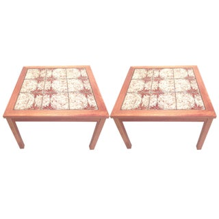 Danish Modern Tile Top Side Tables - A Pair