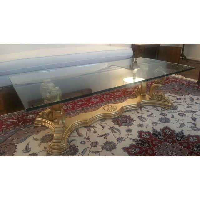 Italian Hand-Carved Base & Glass Top Coffee Table - Image 3 of 5