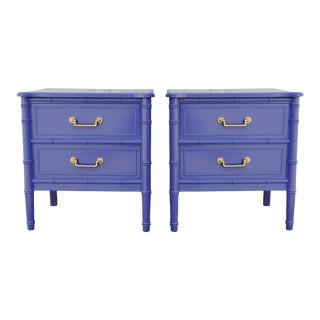 Southern Belle Blue Bamboo Nightstands - Pair
