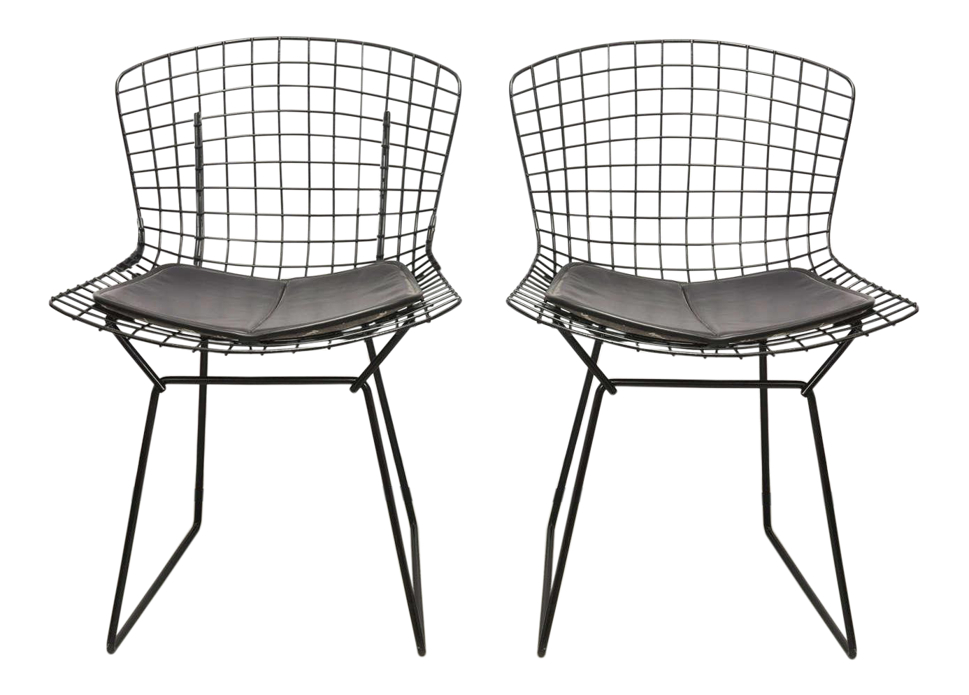 luxury bertoia wire chairs with black leather knoll cushions