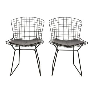 Bertoia Wire Chairs with Black Leather Knoll Cushions, 1960s, USA