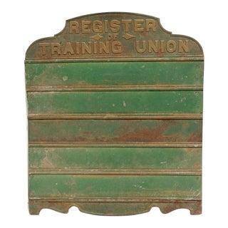 Antique Register of Training Union Sign