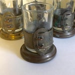 Image of Antique French Brass Buckle Tea Glasses - Set of 6