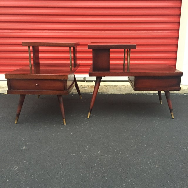 Image of Mid-Century Mahogany End Tables - A Pair